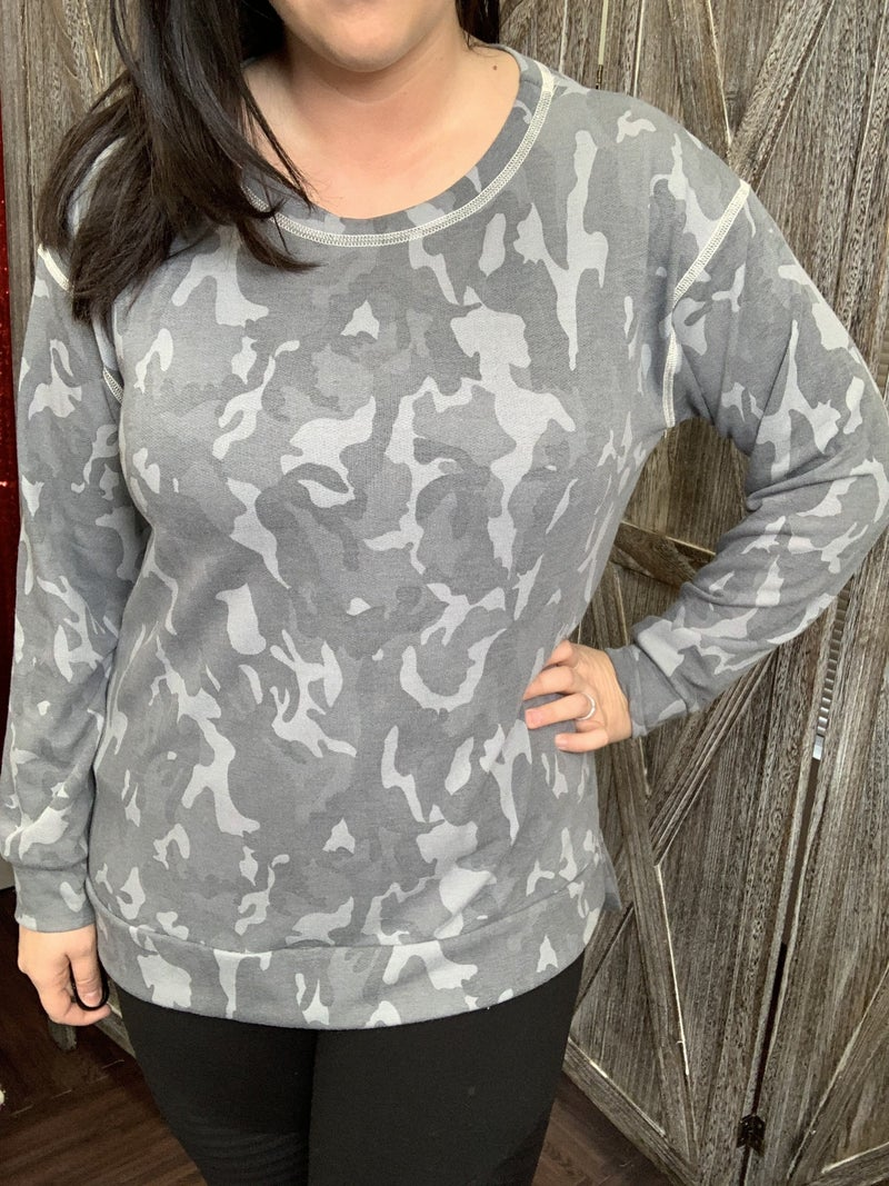 Long Sleeve Camo Top with Stitch Detail