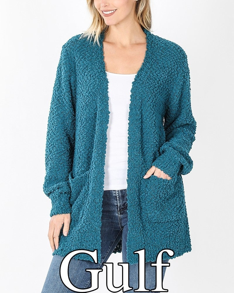 Long Puff Sleeve Popcorn Cardigan with Pockets
