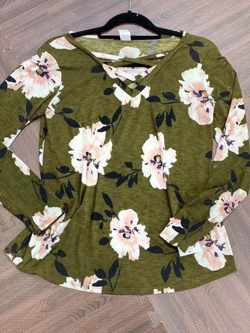 Long Sleeve Hibiscus Floral Top with Criss Cross Detail