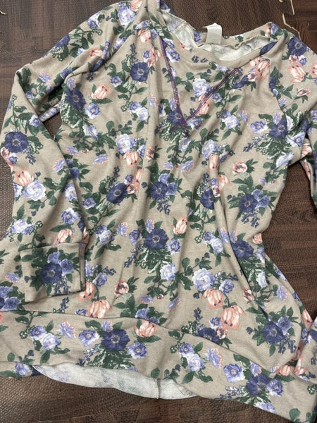 Long Sleeve Floral High Low Top with Stitch Detail