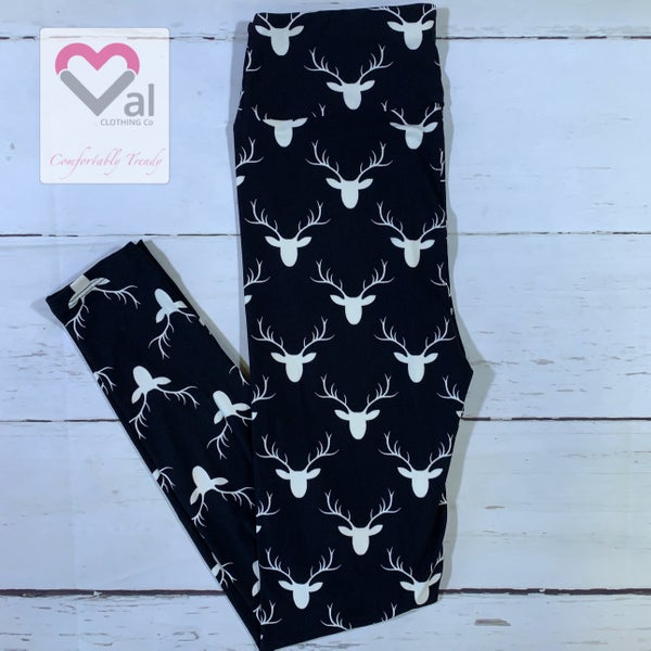 Black and White Reindeer Head Print Leggings