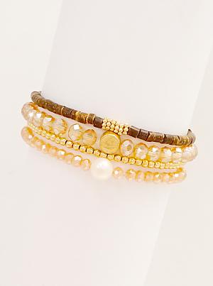 Glass Wood Metal Bead Pearl 4 Stretch Bracelets