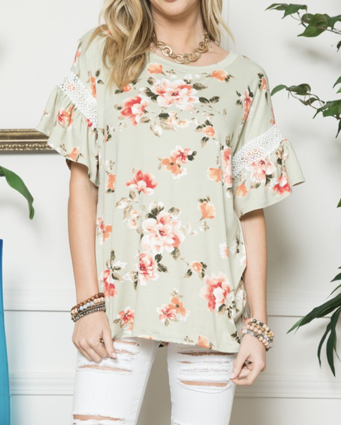 Short Ruffle Sleeve Floral Top with Lace Detail