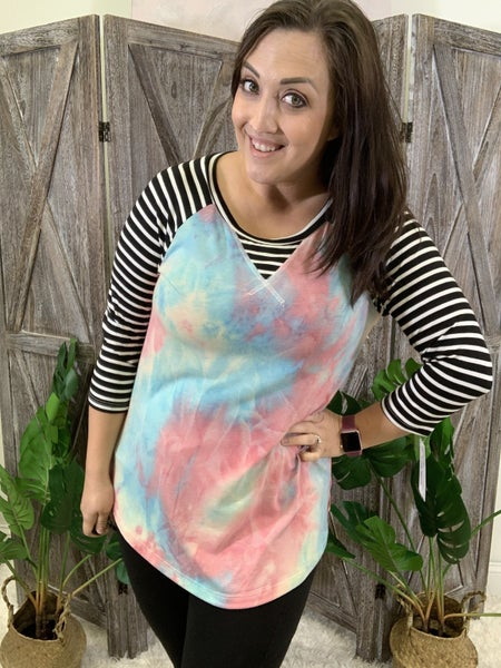 3/4 Stripe Sleeve Tie Dye Print Top