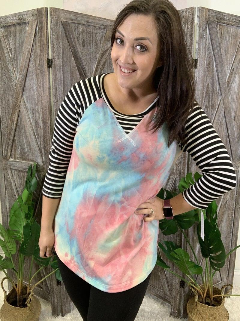 3/4 Stripe Sleeve Tie Dye Print Top
