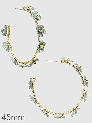 45mm Metal Floral Flower Wrapped Hoop Earrings