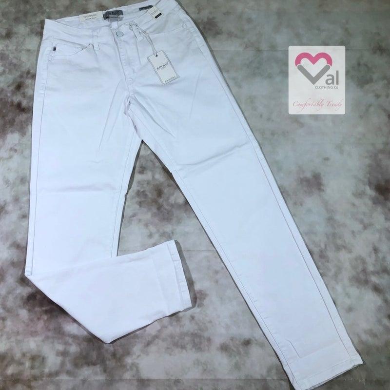 Judy Blue White Mid Rise Boyfriend Jeans