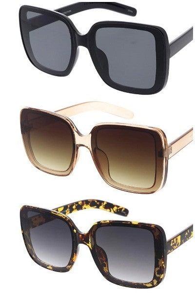 Large Square Flush Lens Fashion Sunglasses