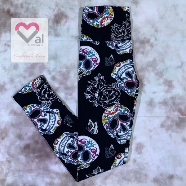 Black Flower and Sugar Skull Printed Leggings