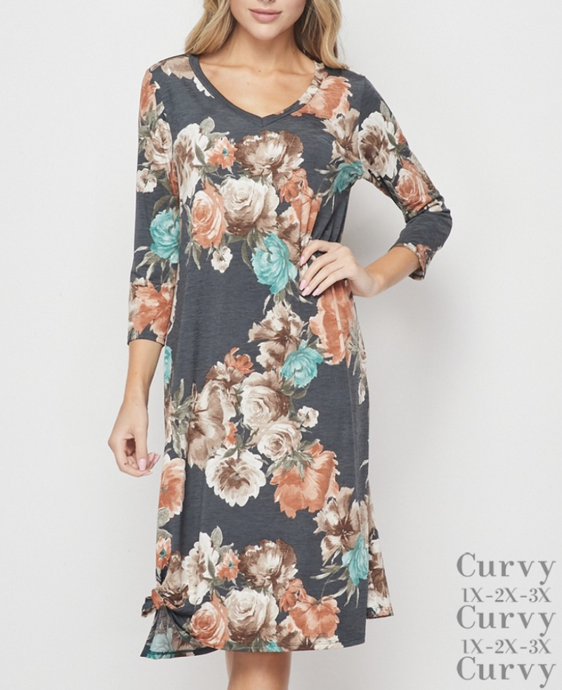 3/4 Sleeve V Neck Floral Dress with Knot Detail