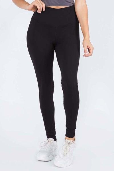 Full Length Solid Leggings with Waistband Pocket