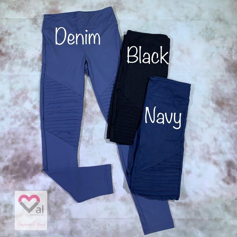 Solid Moto Leggings with Yoga Band
