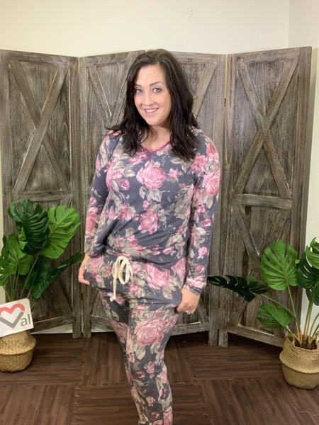 Full Length Lounge Joggers in Floral Print