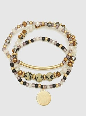 Natural Stone Multi Bead Stretch Stackable Bracelets