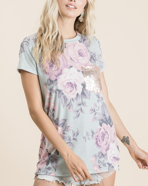 Short Sleeve Round Neck Floral Top with Sequin Pocket Detail