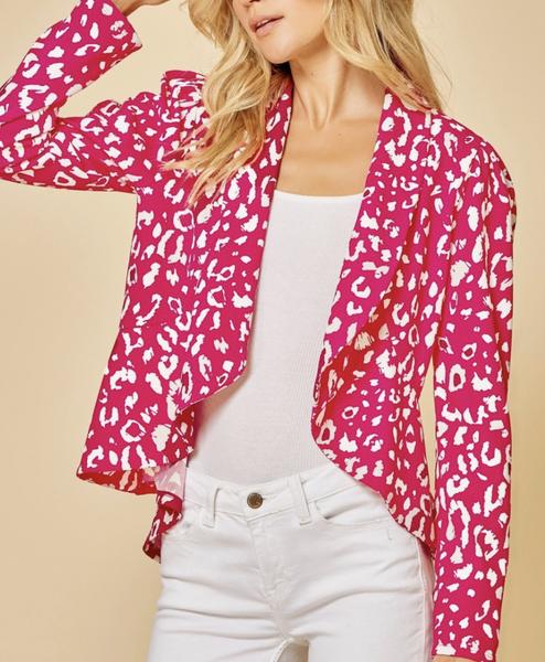 Long Sleeve Leopard Print Blazer Top
