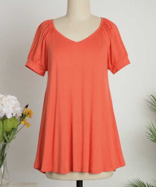Short Puff Sleeve V Neck Solid Top