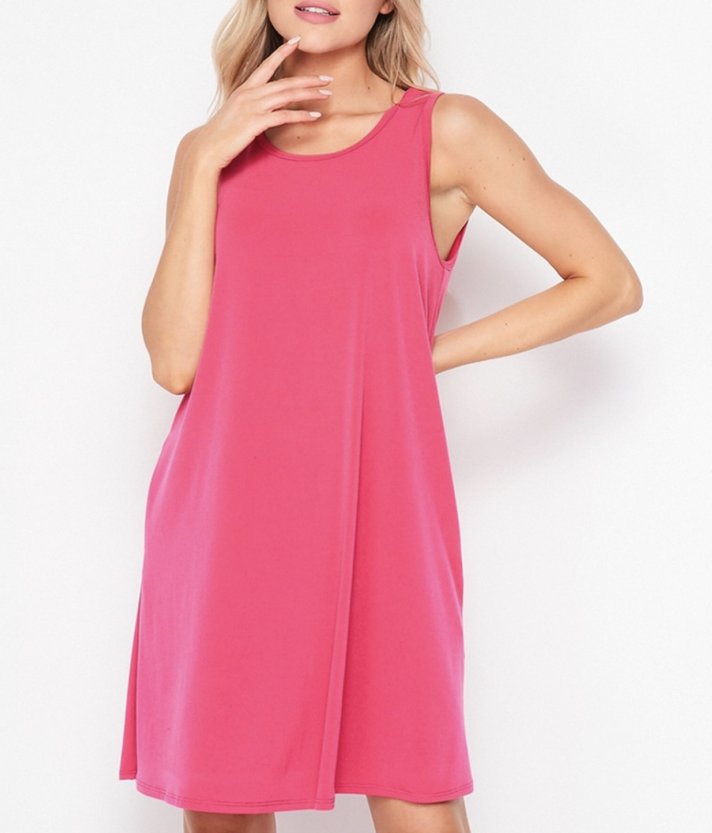 Sleeveless Round Neck Solid Swing Dress