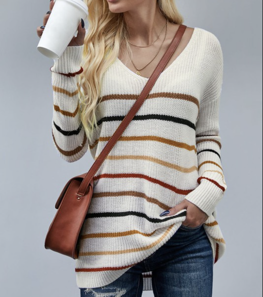 Long Sleeve Striped Knit Sweater Top