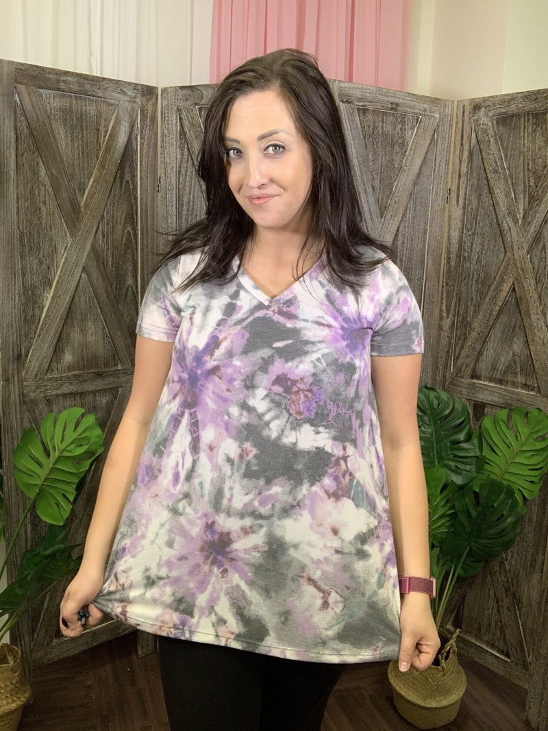 Short Sleeve V Neck Purple Tie Dye Print Top