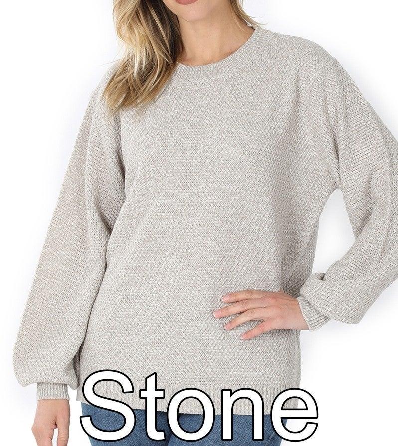 Long Balloon Sleeve Melange Sweater Top