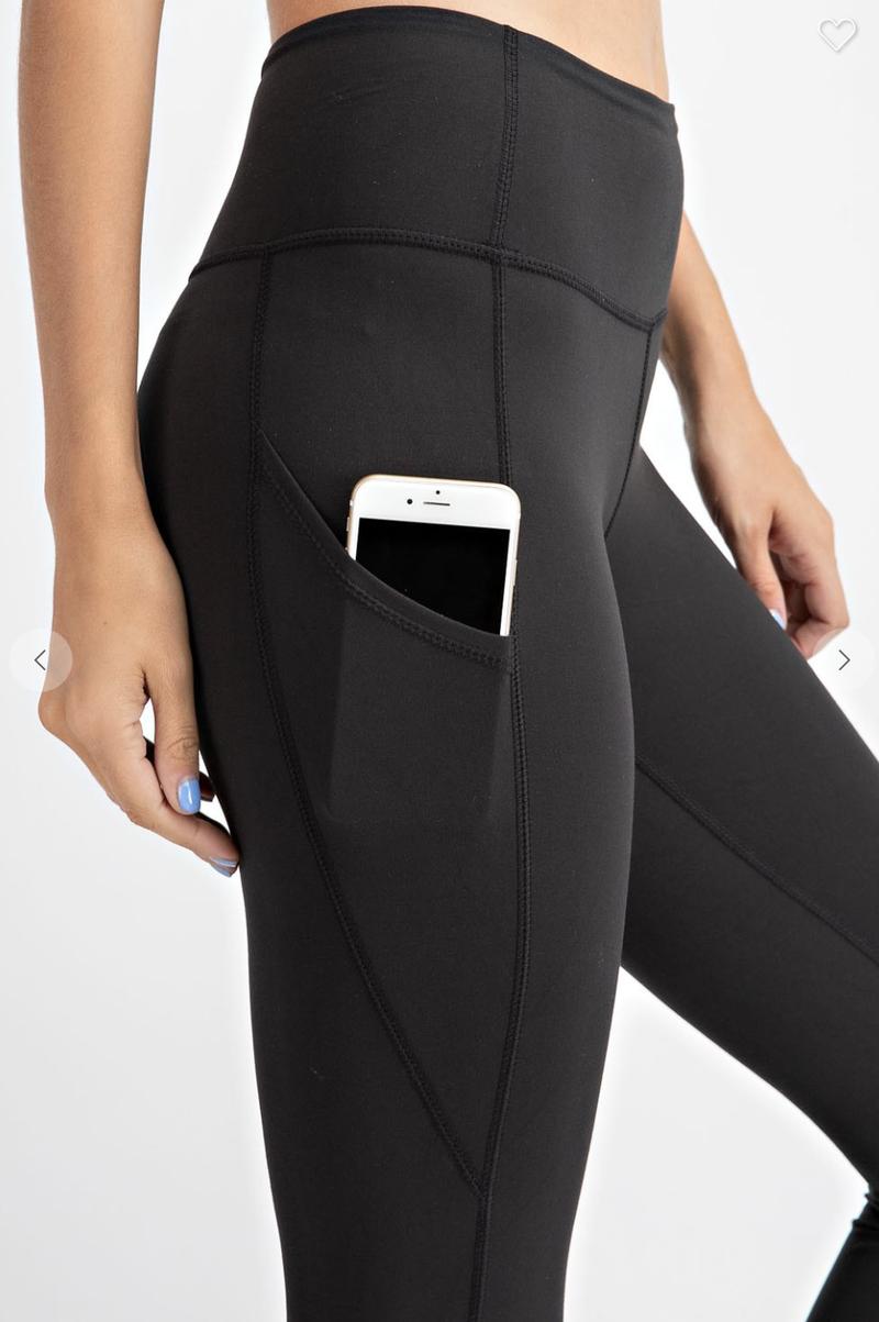 Solid Black 7/8 Length Capri Pocket Leggings