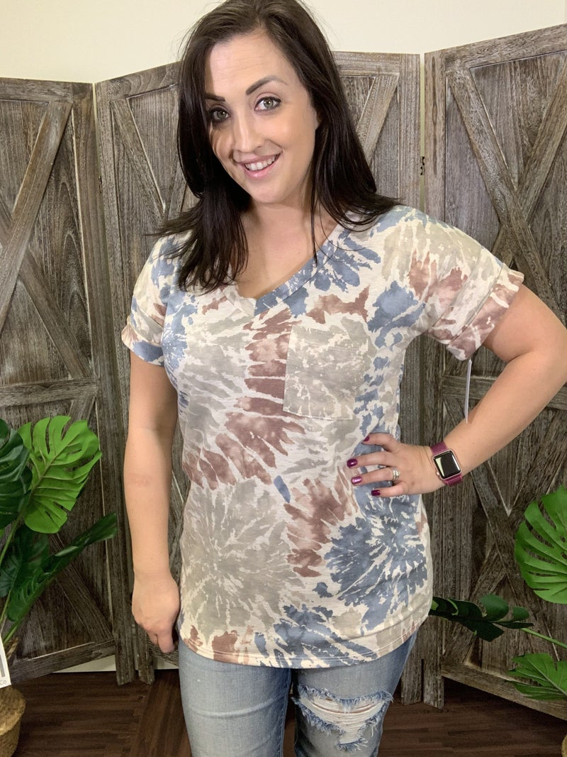 Short Rolled Sleeve V Neck Firework Tie Dye Boyfriend Top