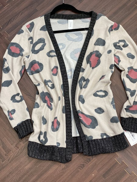 Long Sleeve Leopard Cardigan with Metallic Detail
