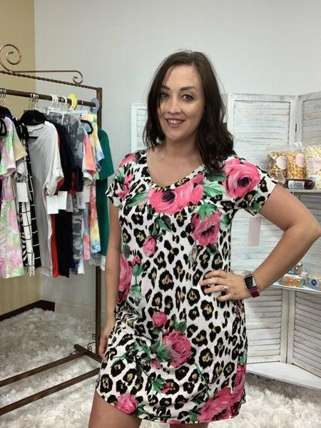 Short Sleeve V Neck Leopard Floral Print Dress