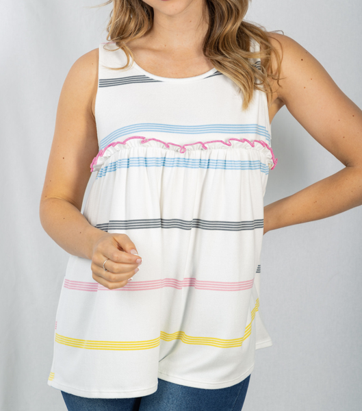 Sleeveless Beachy Striped Top with Ruffle Detail
