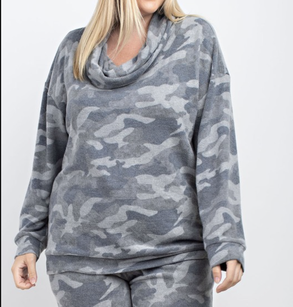 Long Sleeve Cowl Neck Camo Print Top