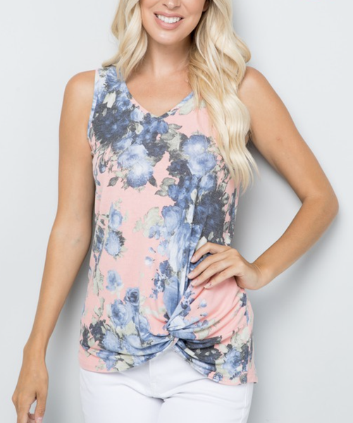 Sleeveless Floral Top with Front Twist