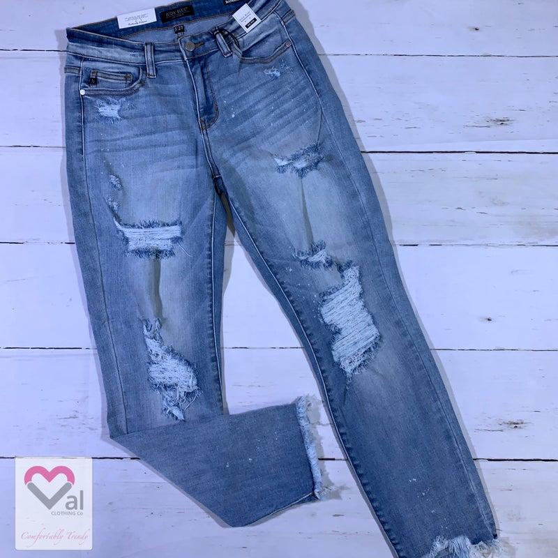 Judy Blue Mid Rise Destroyed Hem Beach Splash Boyfriend Jeans