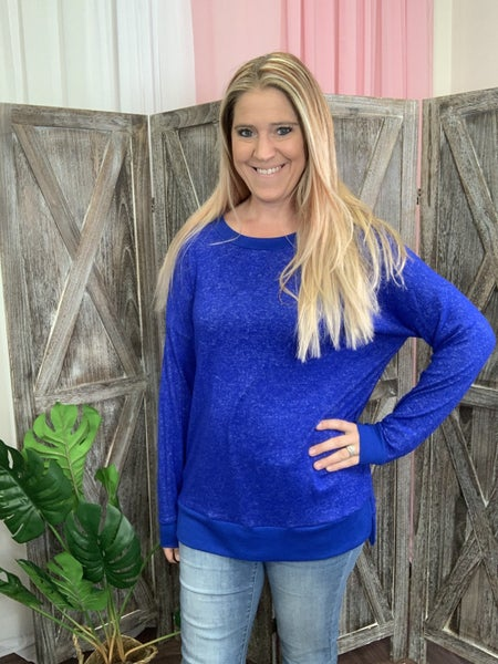 Long Sleeve Scoop Neck Heathered Solid Top