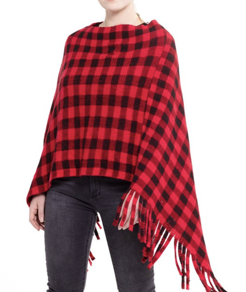 Buffalo Plaid Printed Poncho