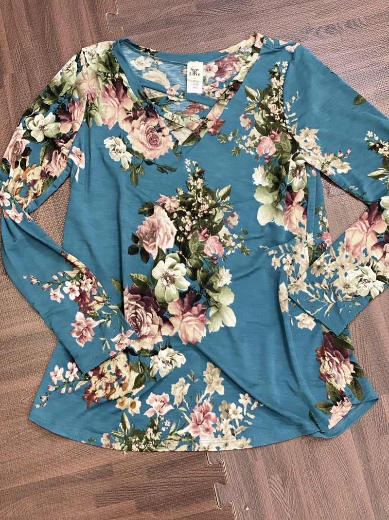 Long Sleeve Floral Bunch Top with Criss Cross Detail