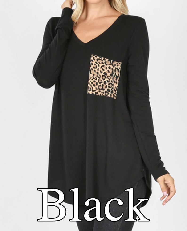 Long Sleeve V Neck Solid Top with Leopard Pocket Detail