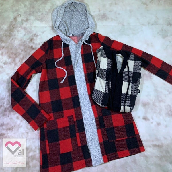 Long Sleeve Checker Print Open Front Cardigan with Hood