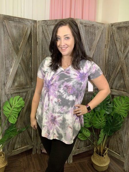 Short Sleeve V Neck Purple Tie Dye Print Top