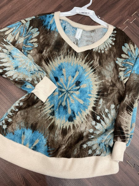 Long Bubble Sleeve V Neck Round Tie Dye Top