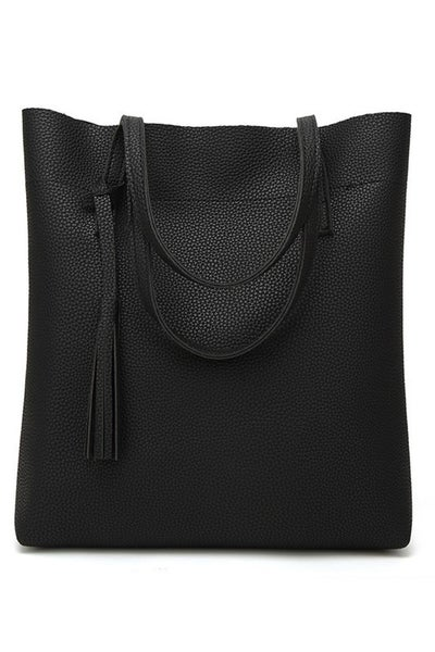 Faux Leather Solid Tote Bag