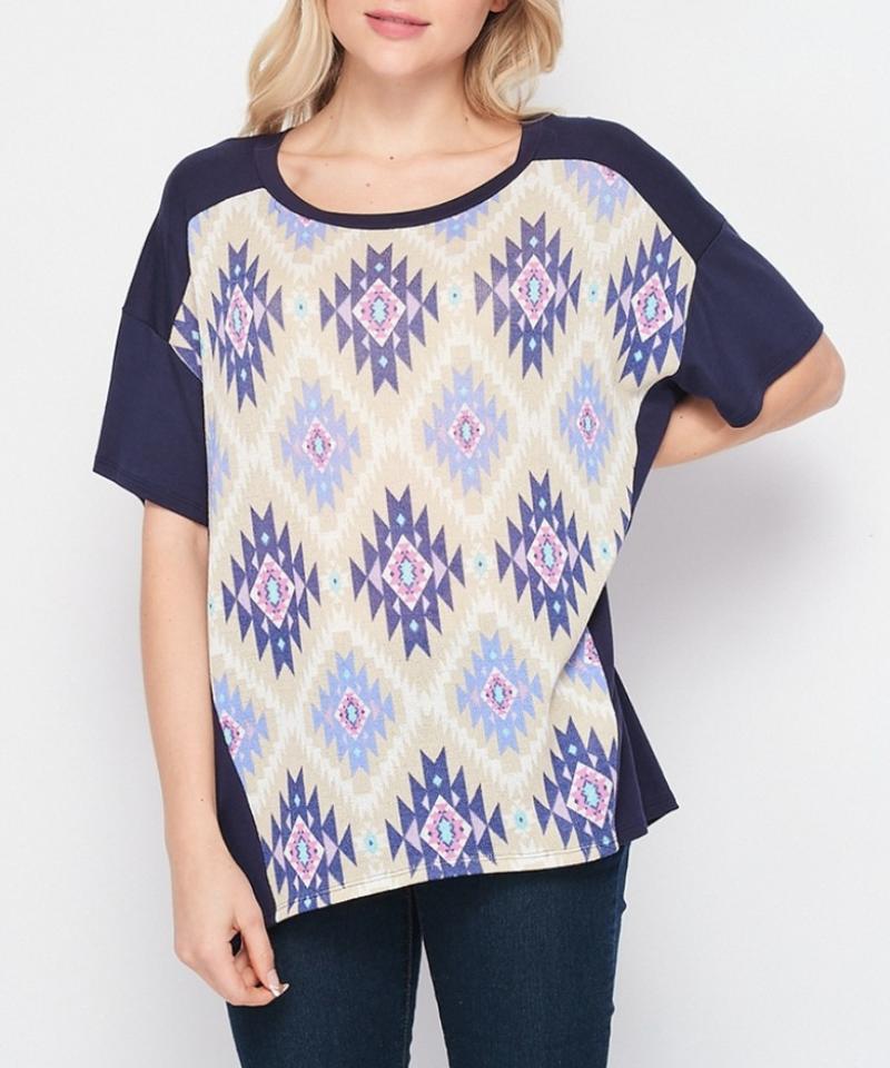 Short Sleeve Solid & Aztec Top