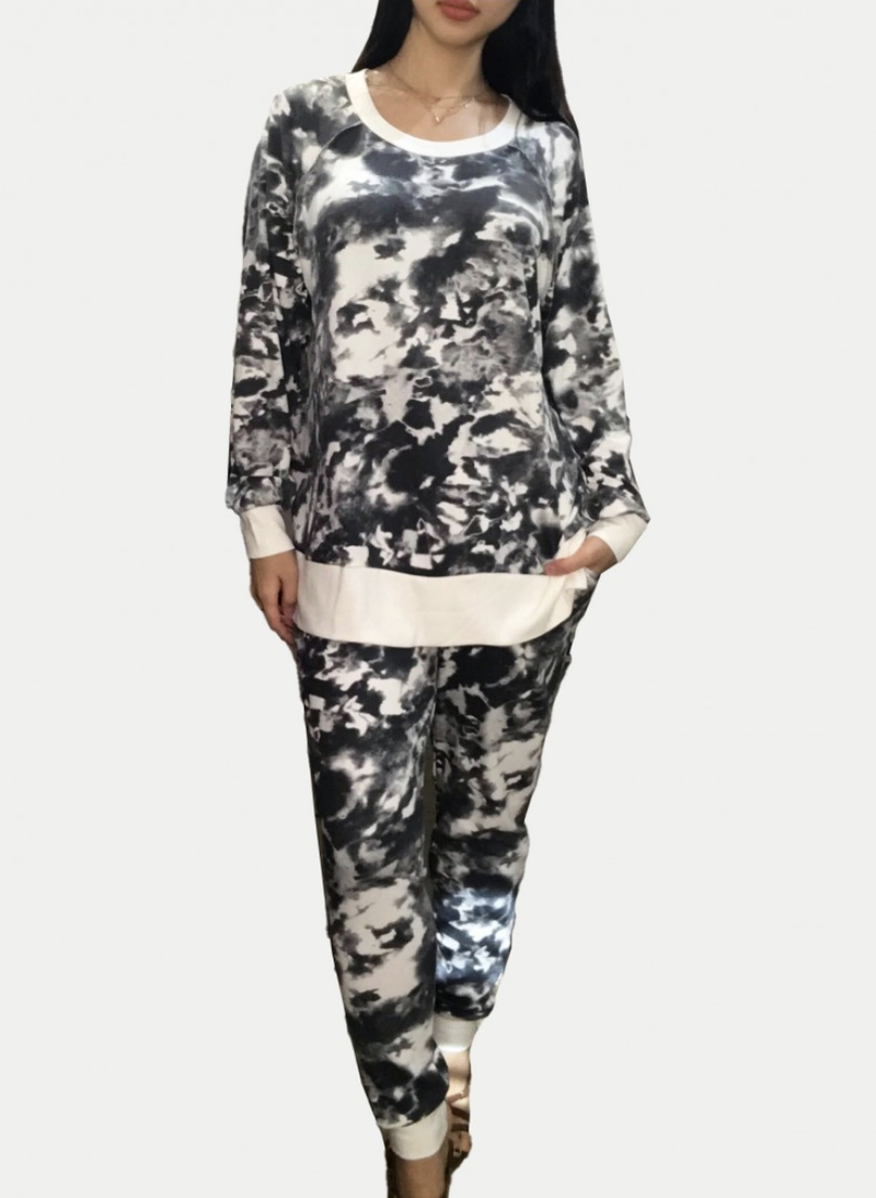 Full Length Joggers in Charcoal Tie Dye Print