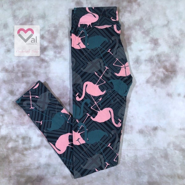 Flamingo and Geometric Print Leggings