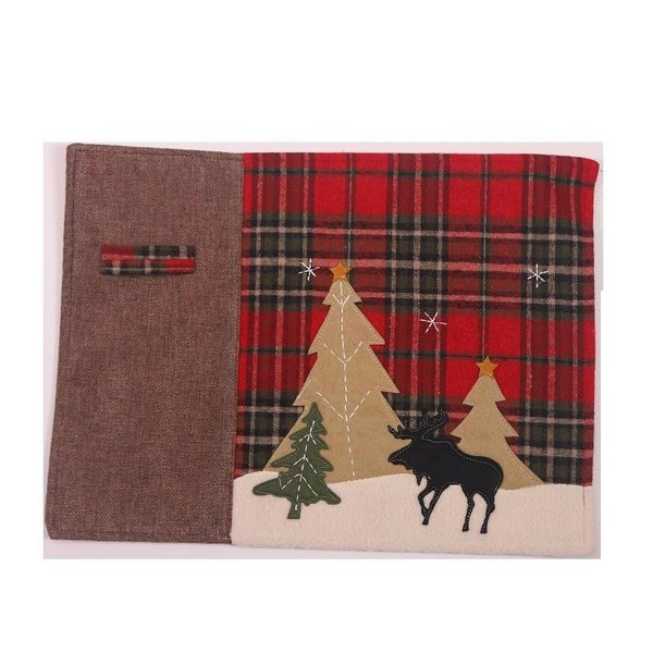 Christmas Plaid Placemat with Moose Detail
