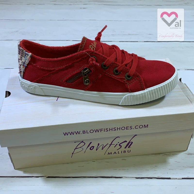 Blowfish Low Top Red Lace Sneakers with Canvas Back