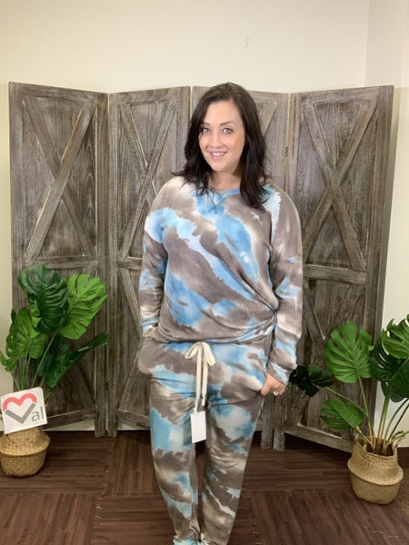 Full Length Joggers in Tie Dye Print