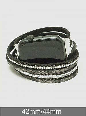 Leopard Animal Print Twist Genuine Leather Wrap Around Magnetic Clasp Apple Watch Band Bracelet