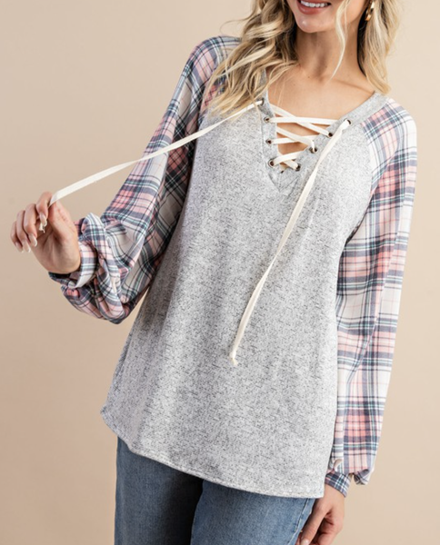 Long Bubble Sleeve Lace Up Plaid and Solid Top