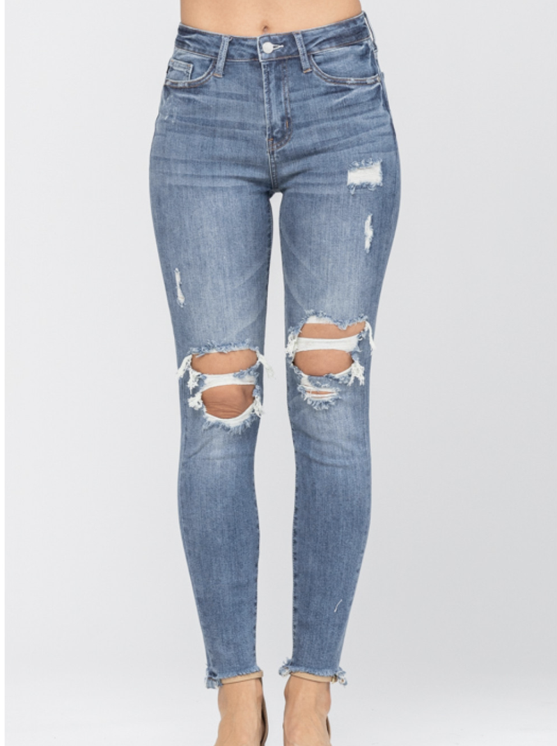 Judy Blue Skinny Jeans with Distressed Knee